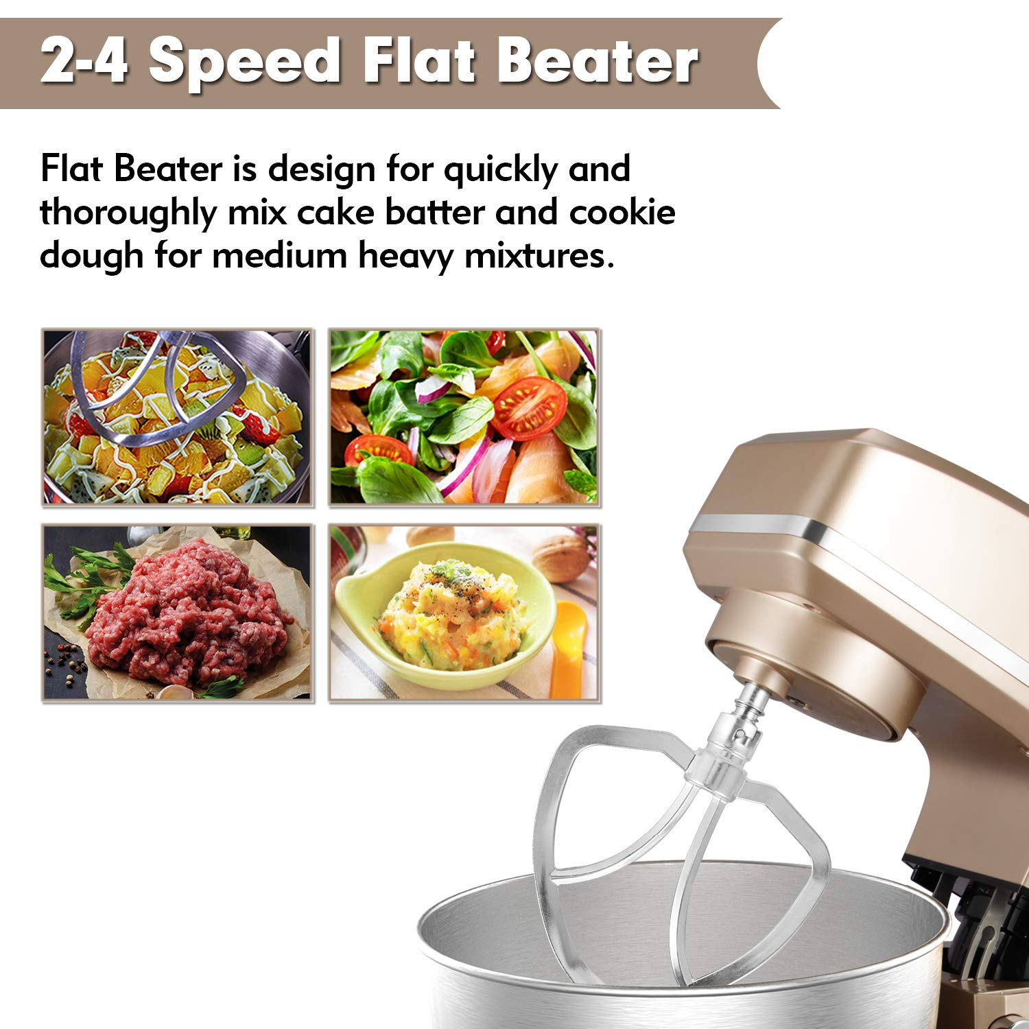 Stand Mixer Sincalong 8.5QT 6 Speed Control Electric Stand Mixer with Stainless Steel Mixing Bowl and 3 Attachments for Mix Blend Whip and Knead