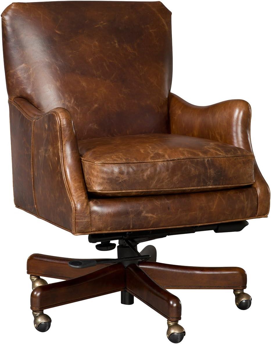 Hooker Furniture Barker Leather Tilt Swivel Chair in Brown