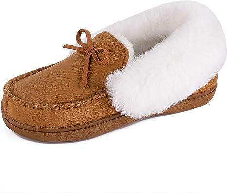 Beige Womens Ladies Slippers Fleece Wool Suede Shoes Size UK 4-8