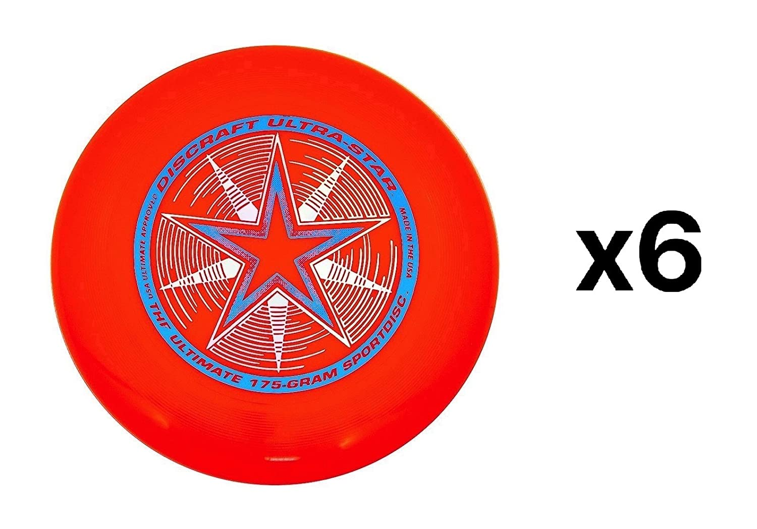 Discraft Ultra-Star Ultimate Frisbee 175 Gram Championship -Orange (6-Pack)