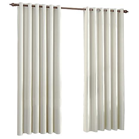 Cortinas Opacas Térmicas Aislantes con Ollaos para Hogar Dormitorio Salón y Oficina, 2 Piezas, 140x260cm, Beige