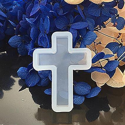 Moldes de silicona con forma de cruz para moldes de fundición y resina líquida para joyas