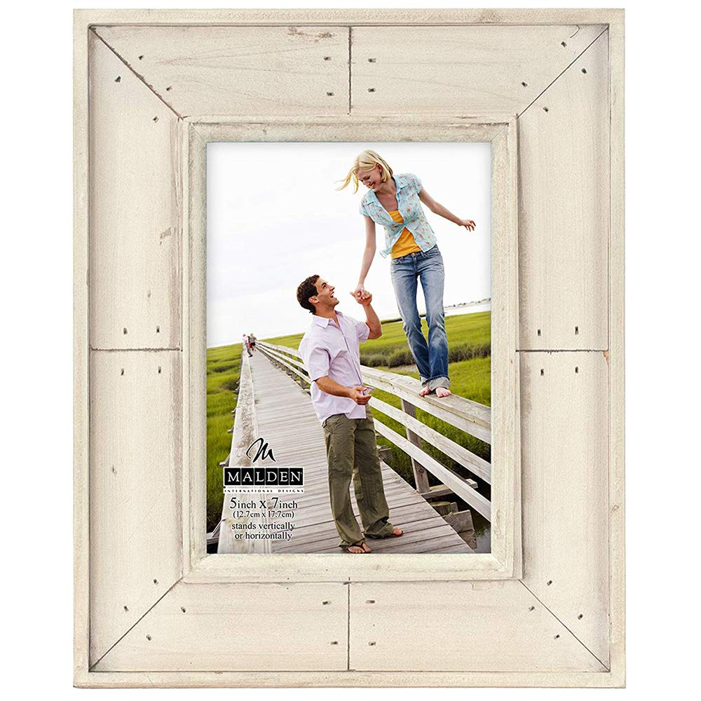 Malden International Designs Sun Washed Woods Sand Distressed With Inner Frame Border Picture Frame, 4x6, Sand by Malden International Designs