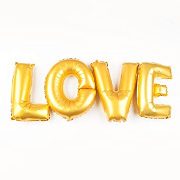 Amazon Com Ella Celebration Love Letters Gold Balloons 40 Inch
