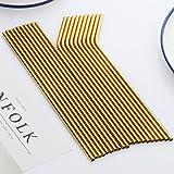 Buyer Star 20 Pieces Metal Straw, Gold Extra Long Drinking Stainless Steel Reusable Smoothie Straws for Yeti Tumbler Rambler Mugs