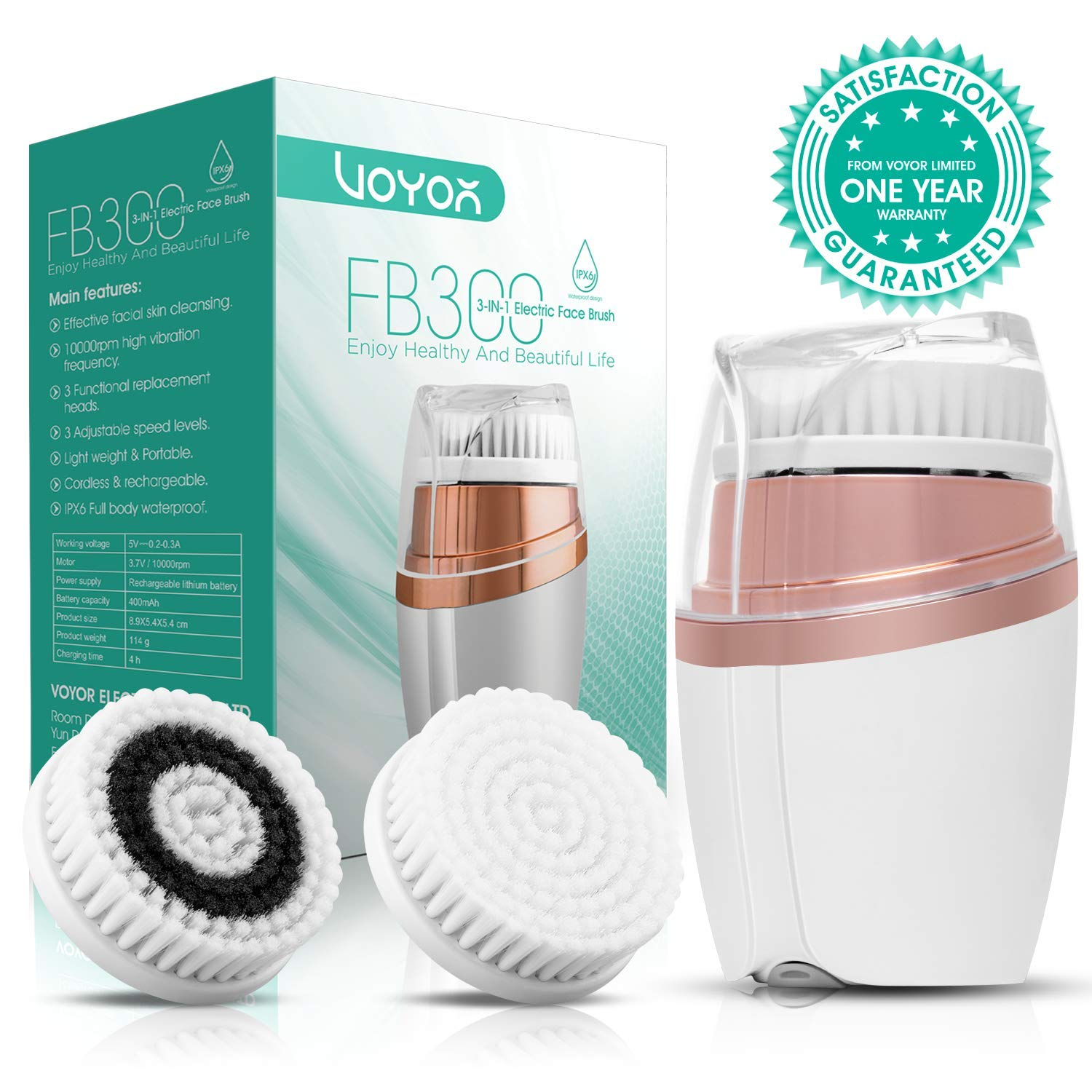 VOYOR Face Brush Rechargeable Facial Cleansing Brush 3-in-1 Exfoliation Pore Minimizer, Makeup Remover Brush for Acne Blackhead Treatment Skin Care, IPX6 Waterproof FB300