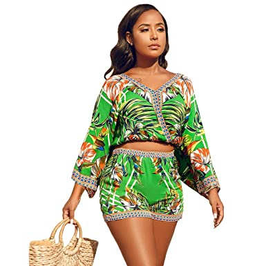 ae1ace676b Amazon.com: LAVIQK Womens Rompers Summer Floral Beach 2 Pieces Outfits Crop  Tops Shorts Set Short Jumpsuits Playsuit: Clothing