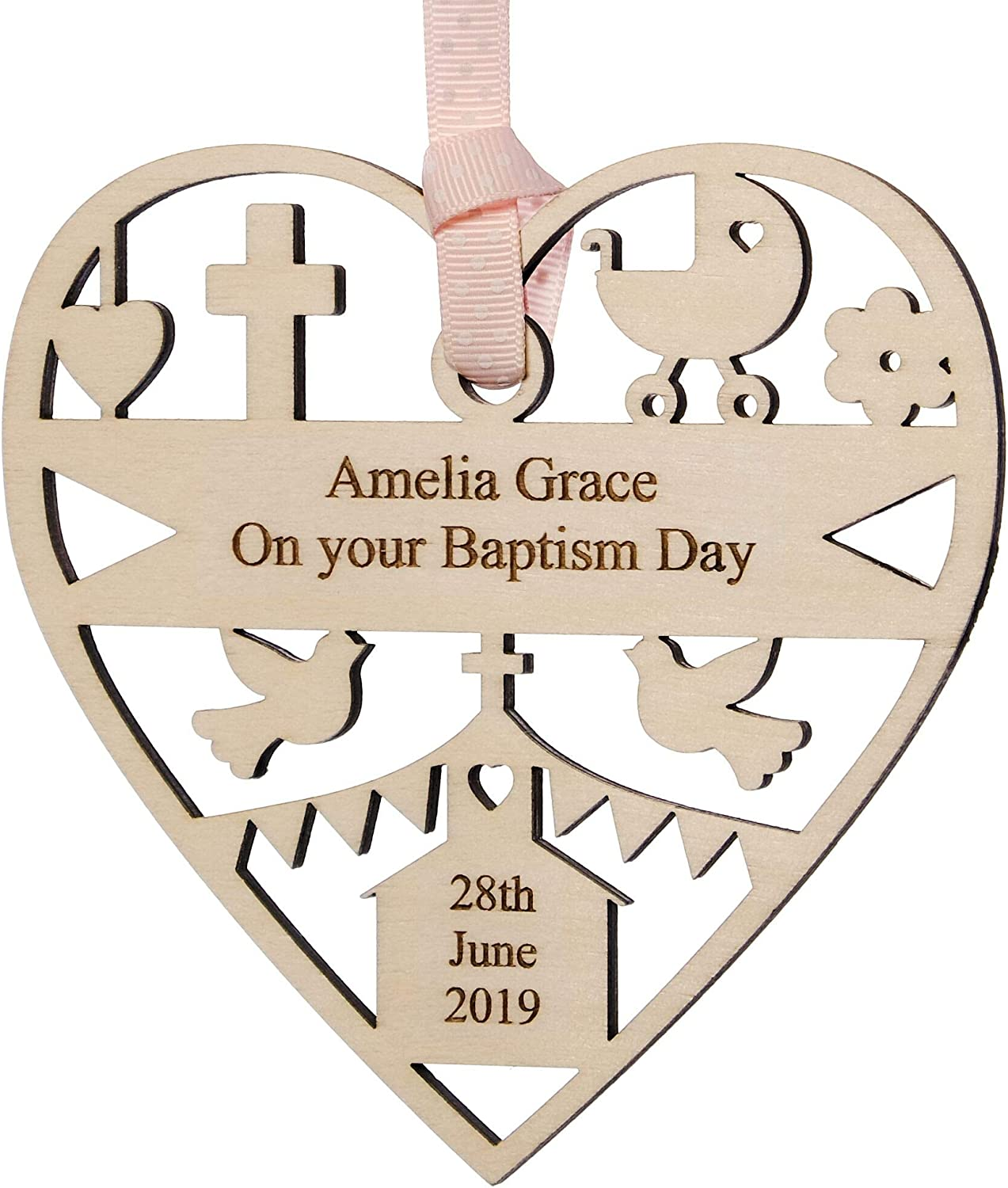 Customised Gift for Baptism Boy Girl Personalised Christening Wooden Plaque