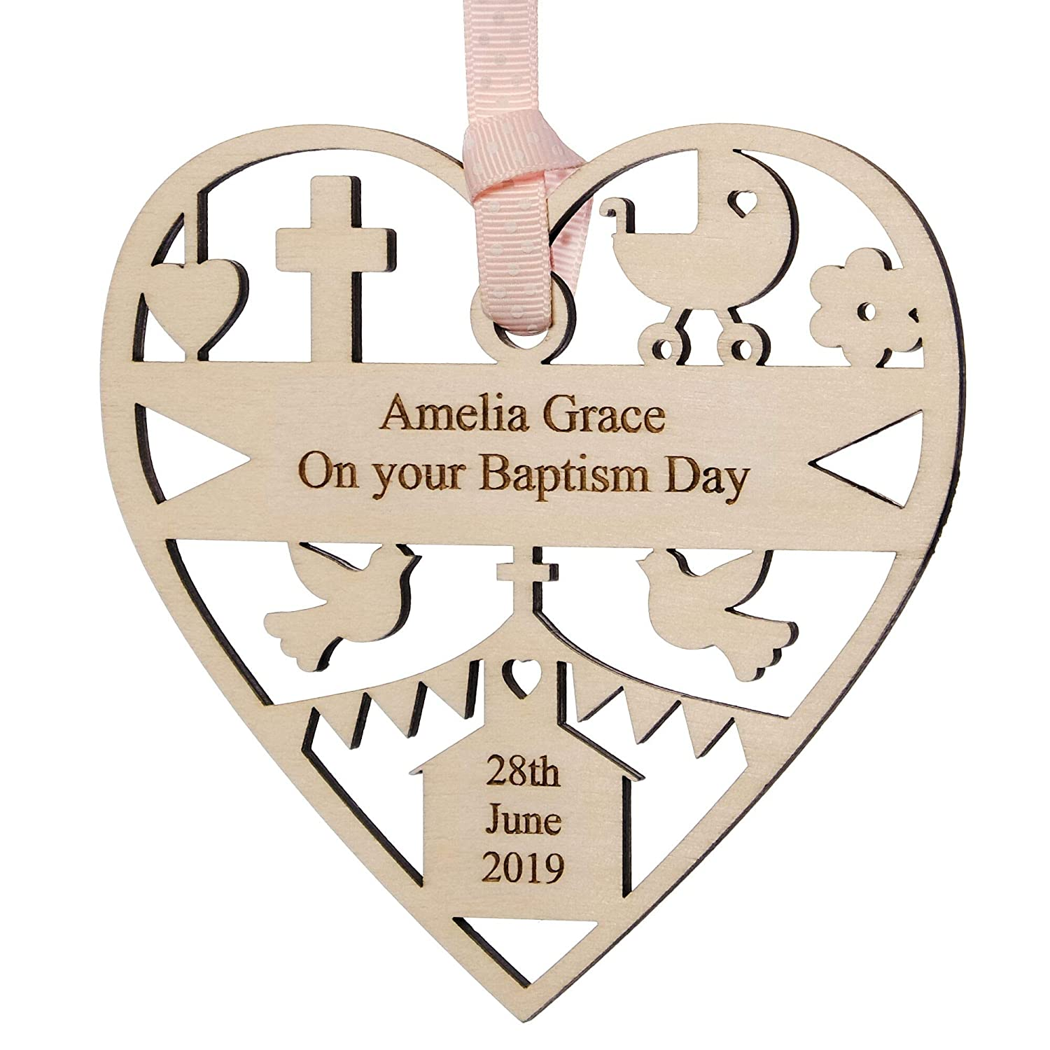 Personalised Typography Plaque Christening Baptism Naming Day Heart Gift Present