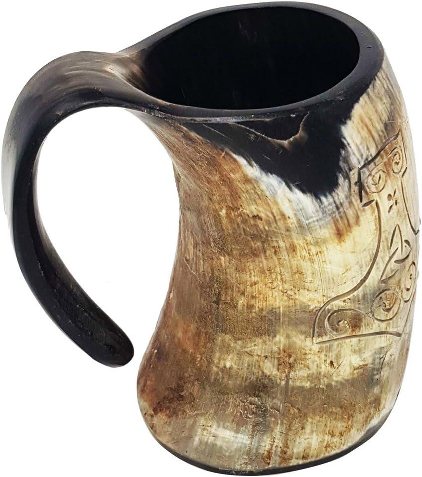 Taza de asta natural de la Mano de Thor grabada a mano XL: taza de 15cm elaborada a mano de estilo de Juego de Tronos. Taza vikinga para utilizar como jarra de cerveza o vino de 0,5