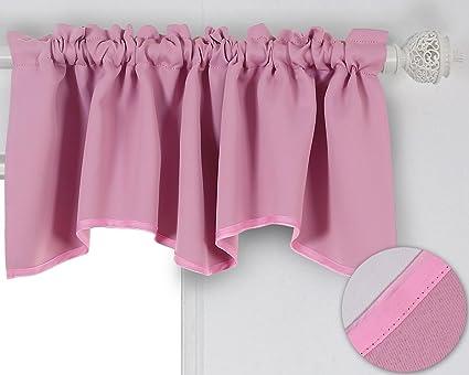 Amazon.com: Deconovo Solid Color Short Curtains Rod Pocket Curtains ...