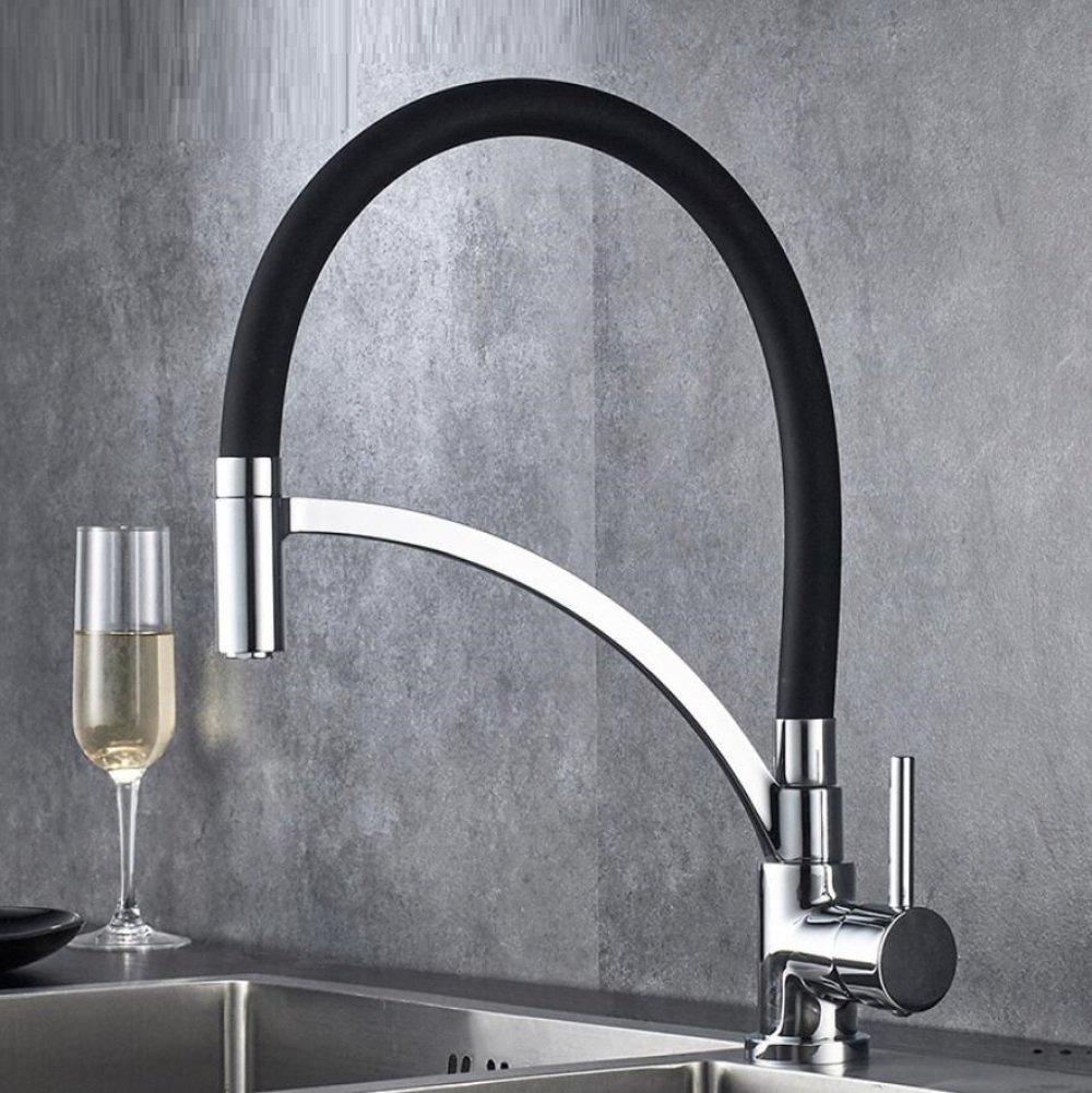 ALIUJIANGLONG Küchenarmatur einzigen Griff heiß und kalt Mischhahn einzigen Loch Waschbecken Edelstahl Wasserhahn kann schwarz Gummischlauch Wasserhahn drehen