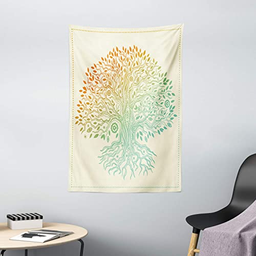 Ambesonne Tree of Life Tapestry, Vintage Tree of Life Pattern Tribal Cultural Mandala, Wall Hanging for Bedroom Living Room Dorm Decor, 40 X 60 , Seafoam Orange