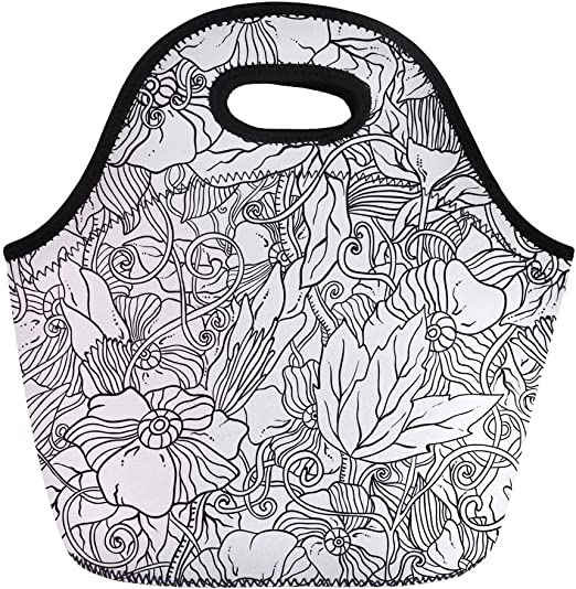 Portable Lunch Bag Tote Thermal Insulation Cartoon Animal Plant Pattern Lunchbox