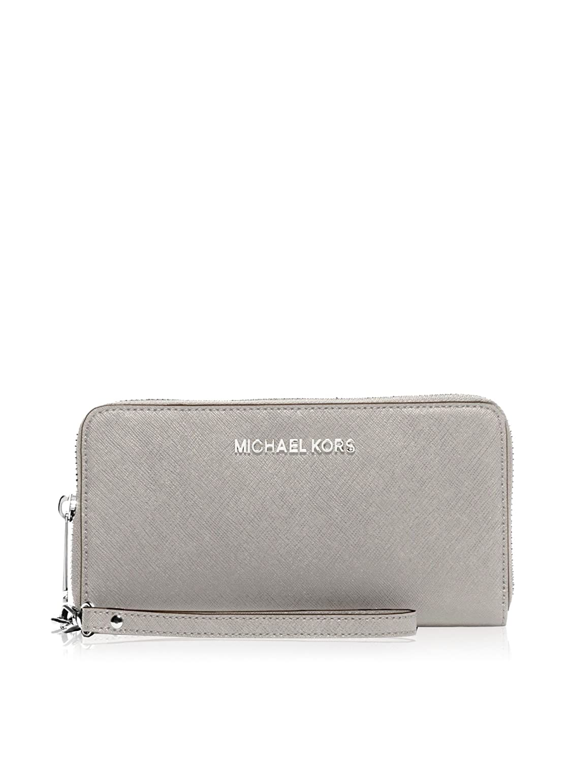 1768e2bd197933 MICHAEL Michael Kors Jet Set Travel Large Saffiano Leather Smartphone  Wristlet in Pearl Grey: Amazon.co.uk: Shoes & Bags