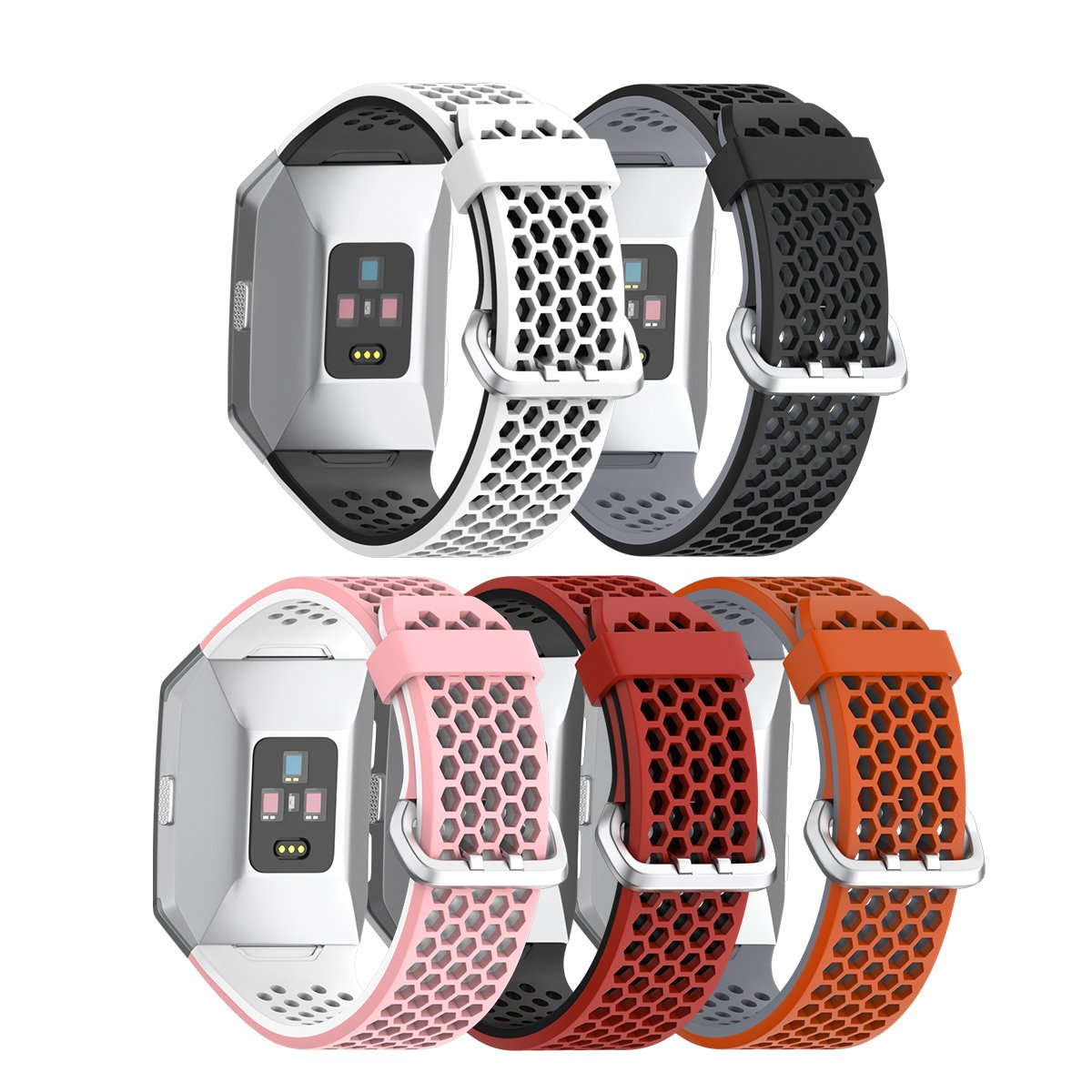 NotoCity Compatible Fitbit Ionic Replacement Watch Band,Sport Strap Soft Silicon Watch Bands for Fitbit Ionic Smartwatch Wristband Men Women