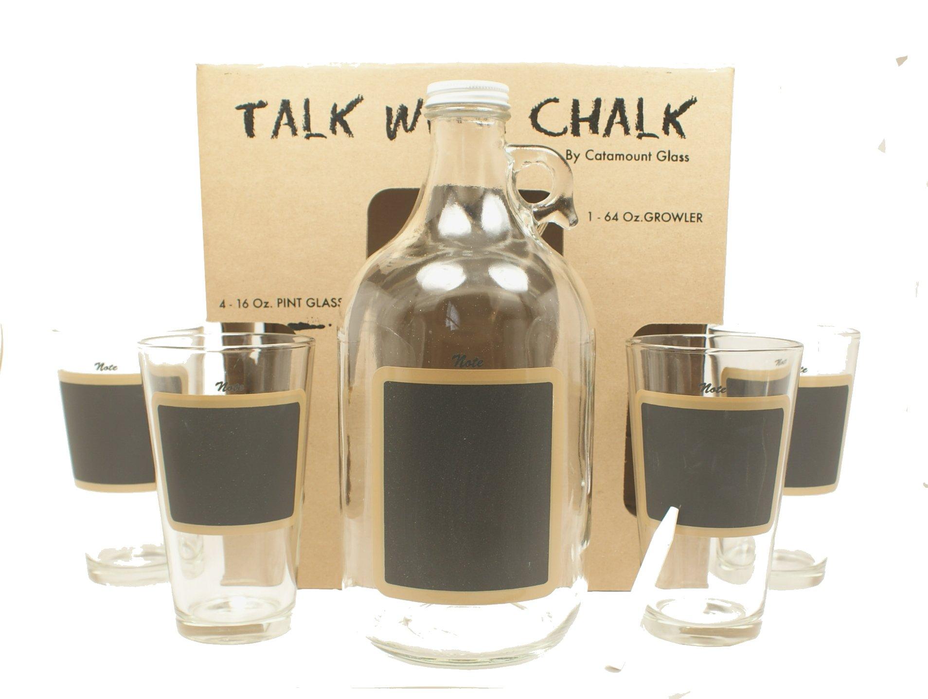 Catamount Glassware 5-Piece ''Talk With Chalk'' Growler Set, Black Chalkboard