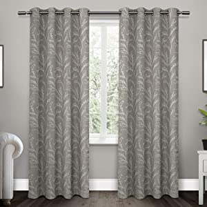 Exclusive Home Curtains Kilberry Woven Blackout Grommet Top Curtain Panel Pair, 52x96, Ash Grey, 2 Count