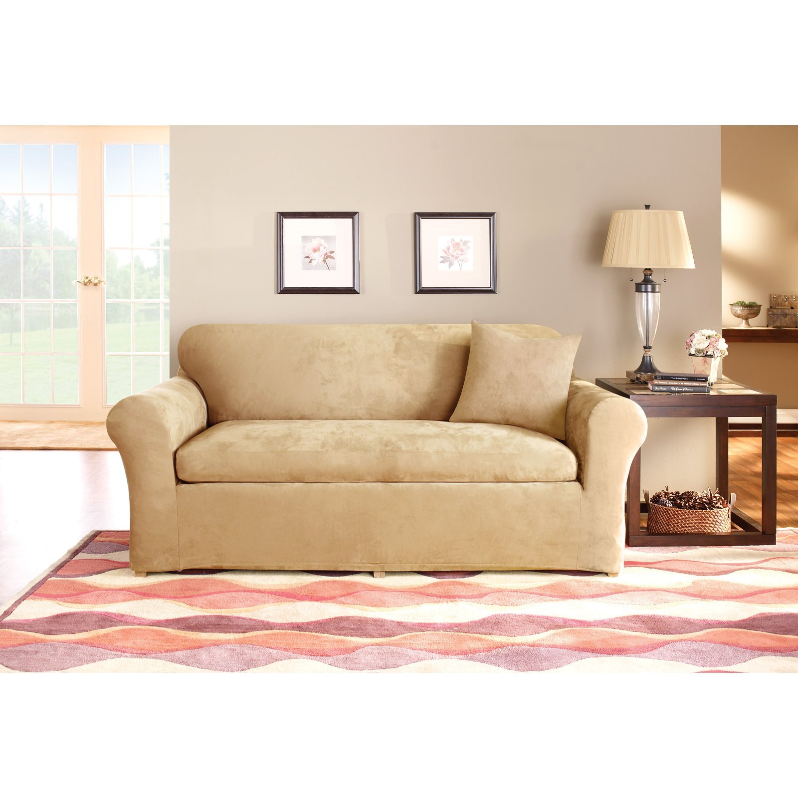 Sure Fit Stretch Suede - Sofa Slipcover  - Taupe (SF37531)