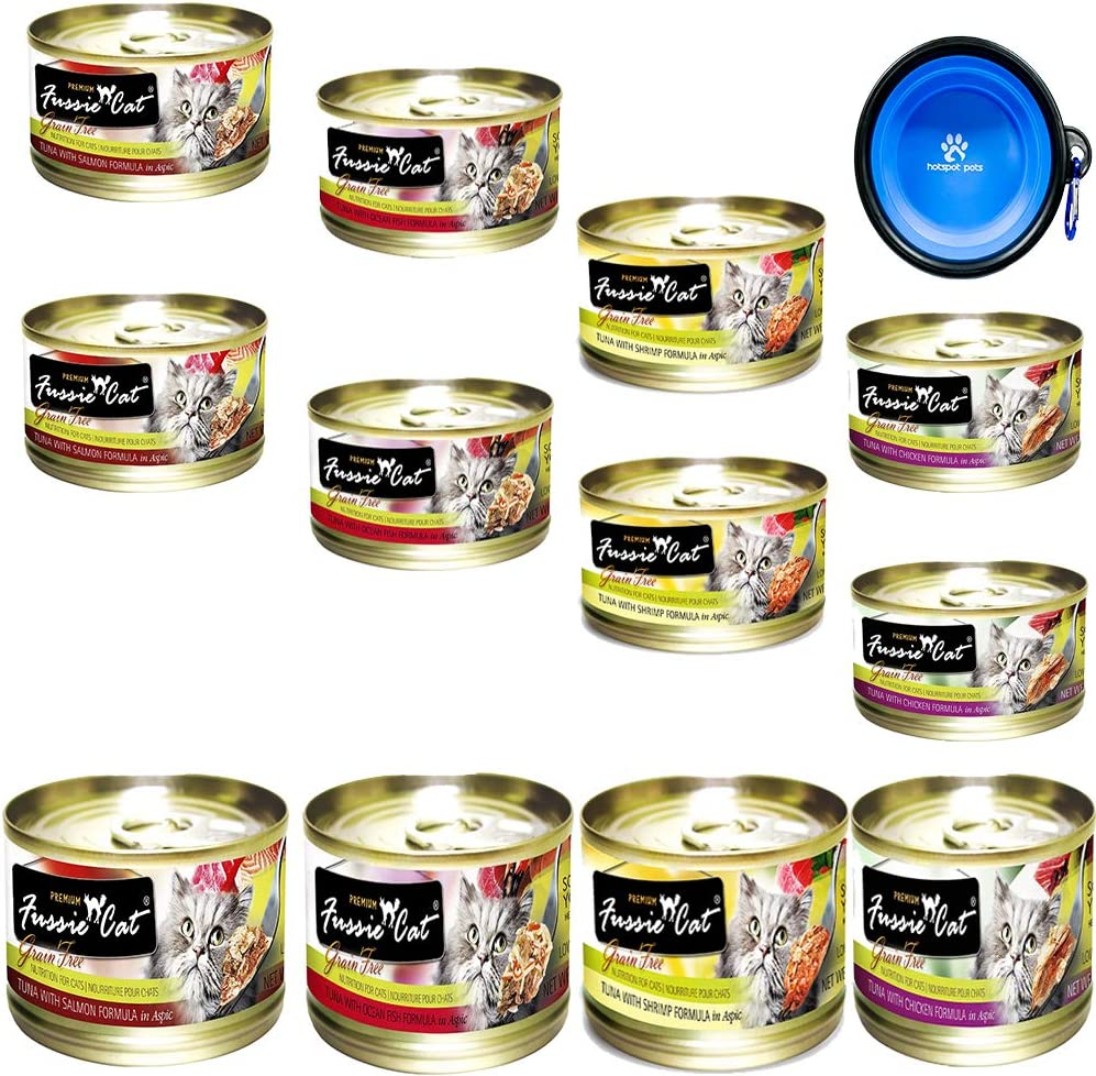 Fussie Cat Premium Canned Grain Free Cat Wet Food - Variety Bundle 4 Flavors Pack with HS Pet Food Bowl (12 Cans) (Tuna & Ocean Fish- Tuna & Salmon - Tuna & Shrimp - Tuna & Chicken) (2.82 Oz)