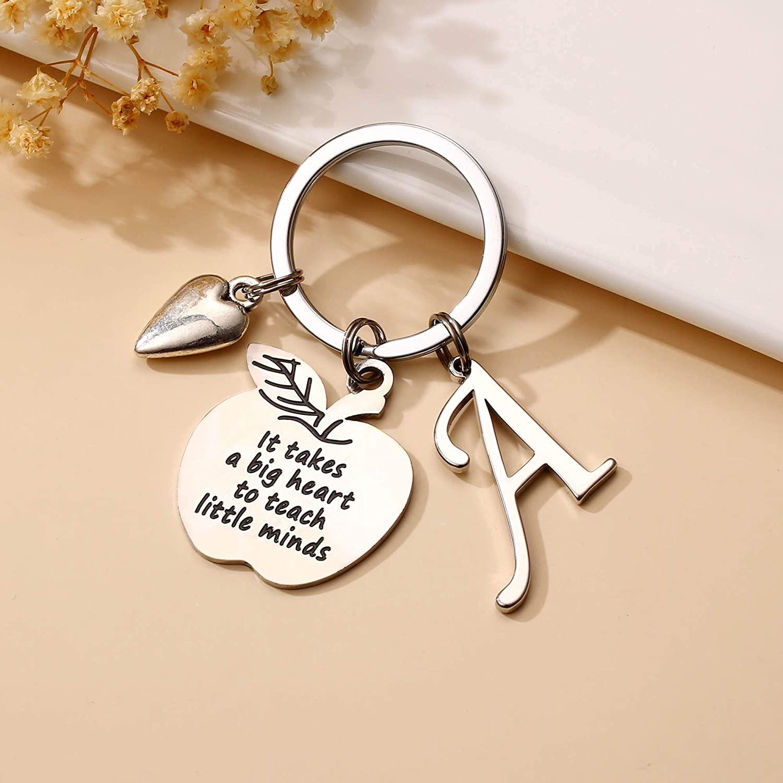 Woman Keychain Ladies Gift Key Chain Elementary Teacher Gift Monogrammed key chain Jr High teacher appreciation Personalized Key Fob