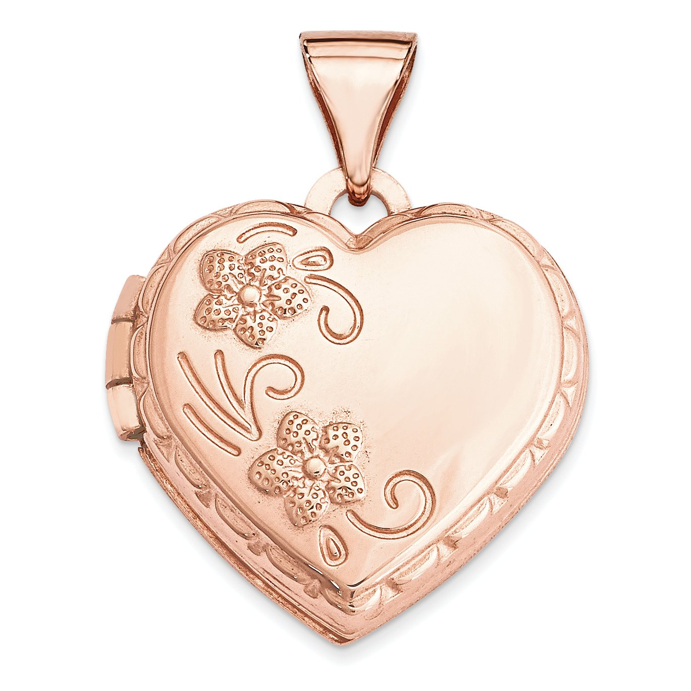 ICE CARATS 14k Rose Gold 15mm Domed Heart Photo Pendant Charm Locket Chain Necklace That Holds Pictures Fine Jewelry Gift Set For Women Heart