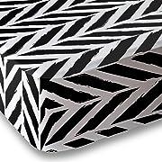 Black/White Herringbone Microfiber Crib Sheet Set By Where The Polka Dots Roam