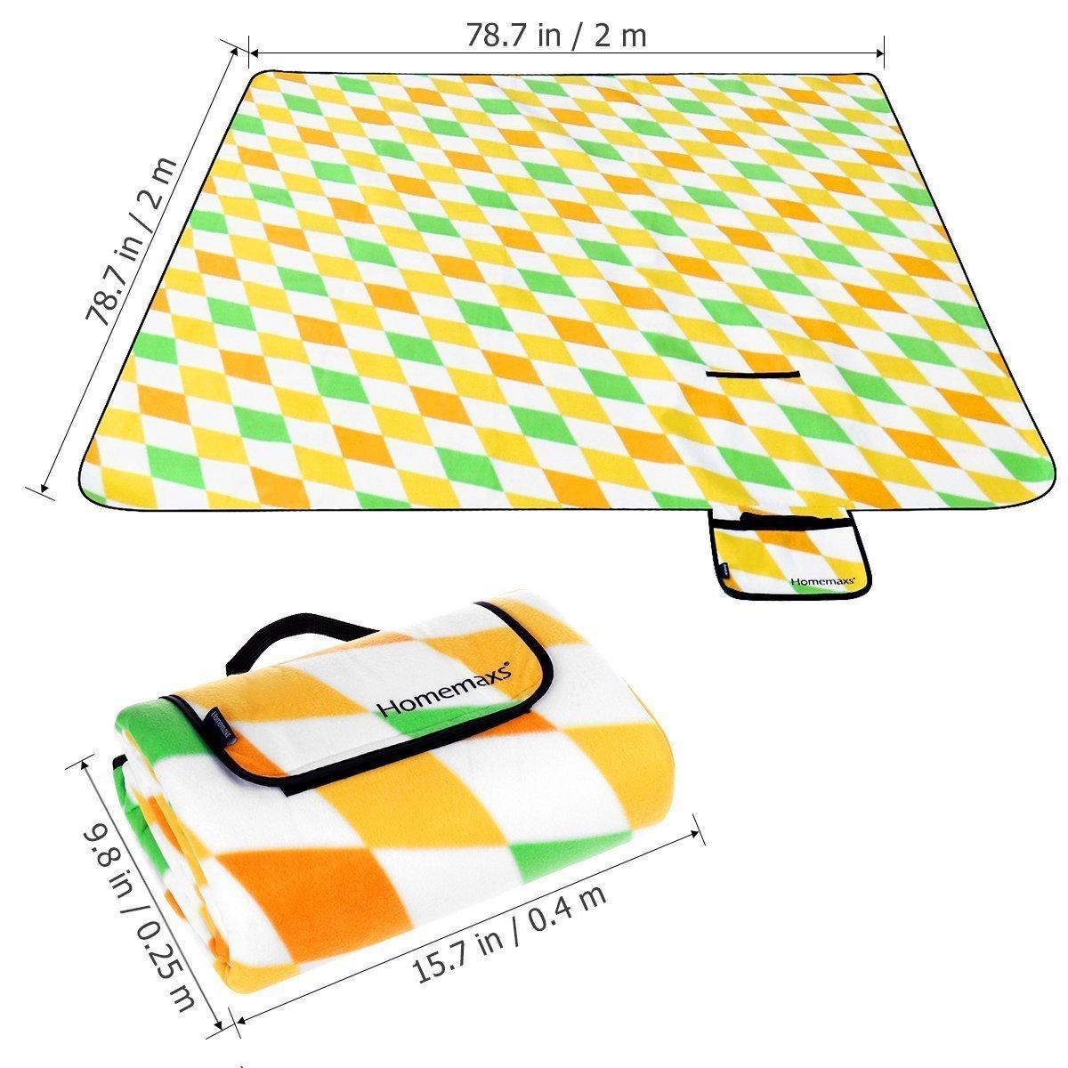 Homemaxs Extra Gro/ße Picknickdecke 200x200 cm Wasserdicht und Tragbar Faltbare Outdoor-Decke f/ür Strandwanderungen Reise Camping