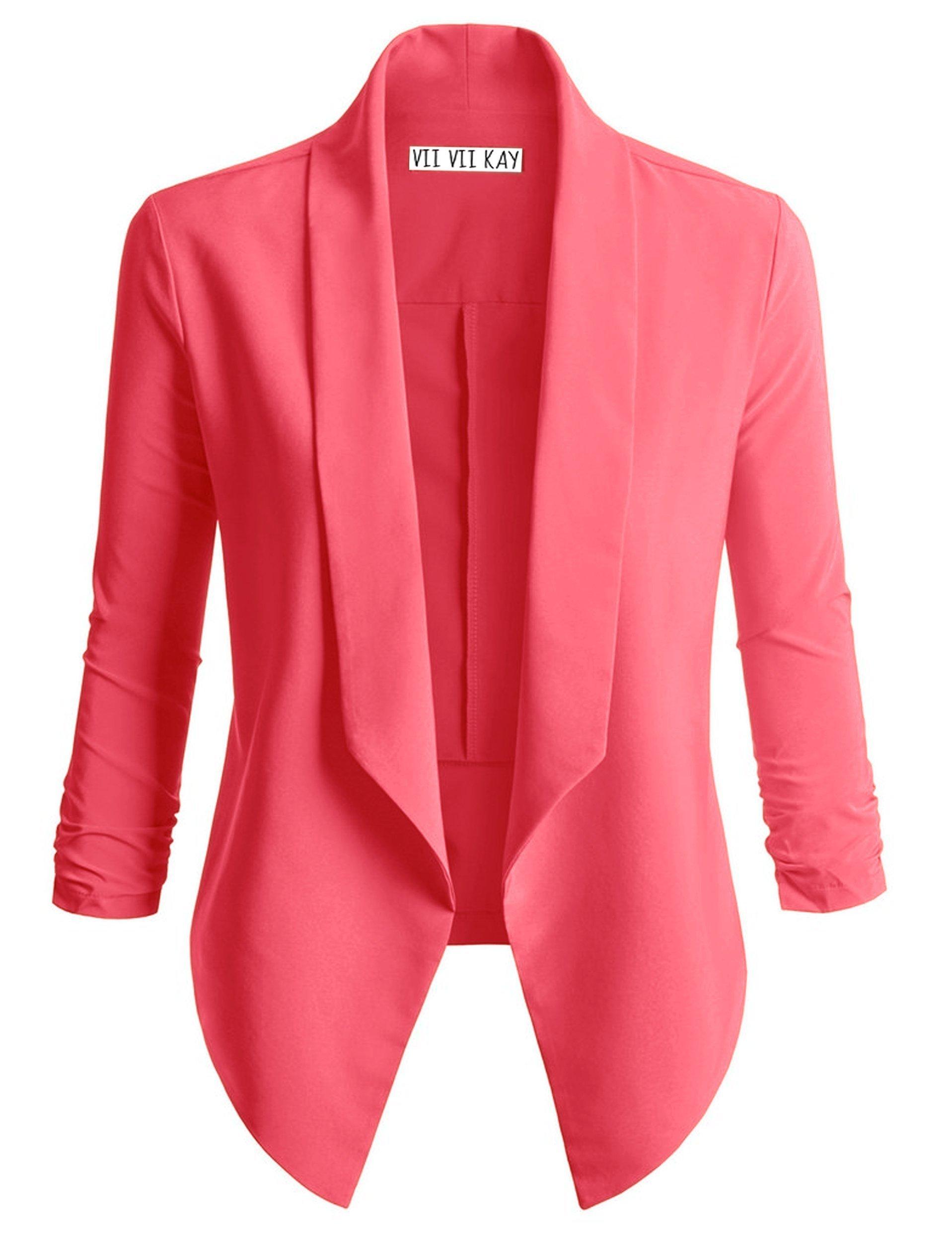 ViiViiKay Women's Versatile Business Attire Blazers In Multiple Styles 37_Coral 2XL