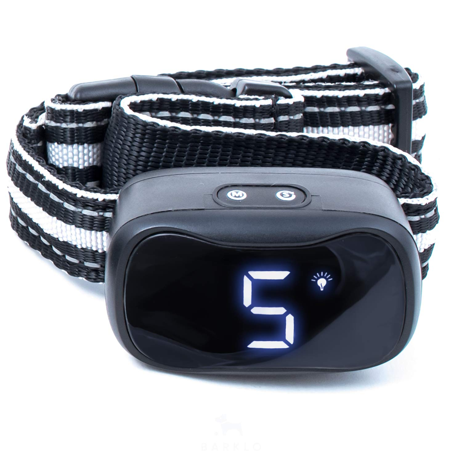 Black Barklo Anti Bark Collar for Medium and Large Dogs Sound, Vibration, Shock Modes for Different Dog Personalities LED-Illuminated No Barking Control Collars for Nighttime Rechargeable & Rainproof