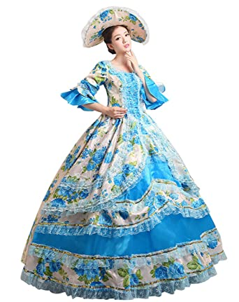 Lemail Womens Renaissance Maxi Dress Victorian Masquerade Ball Gown Queen Costumes Blue 4  sc 1 st  Amazon.com & Amazon.com: Lemail Womens Renaissance Maxi Dress Victorian ...