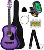 "Crescent MG38-PUL 38"" Acoustic Guitar Starter Package, Purple (Includes CrescentTM Digital E-Tuner)"