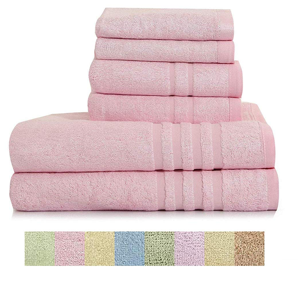 Home Bath Towel 100% Bamboo Fiber Fade-Resistant Super Soft and High Absorbent,2 Bath Towels,2 Hand Towels,2 Wash Clothes.Petal Pink