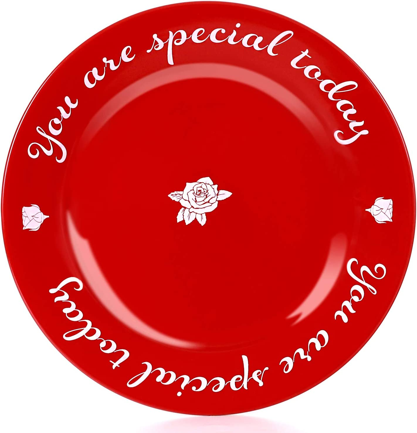 CQNET You Are Special Today Red Plate Premium Ceramic Dinner Plate for Birthday Wedding Anniversary Valentine's Day Engagements Housewarming Graduations 10.5''