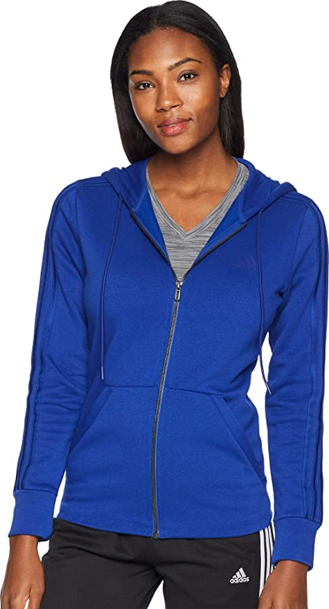 adidas Athletics Essentials Cotton Fleece 3 Stripes Full Zip Hoodie, Mystery