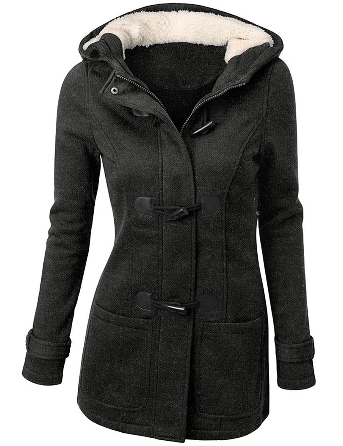 Womens Classic Double Breasted Pea Coat Jacket
