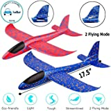 "FunBlast Airplane Toy Set of 2 - 17.5"" Large Throwing Foam Plane, Dual Flight Mode, Aeroplane Gliders, Flying Aircraft, Gifts for Kids, 3 4 5 6 7 Year Old Boy