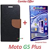 RidivishN (COMBO OFFER) Motorola Moto G5 Plus / Moto G5 Plus - - - Fancy Wallet Flip Case Cover (Black,Brown) + Premium Tempered Glass Screen Protector - - - (Transperent)