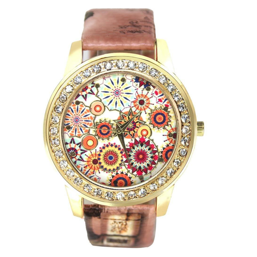 START Women Bling Diamond Crystal Oil Painting Pattern Wrist Watch-Brown