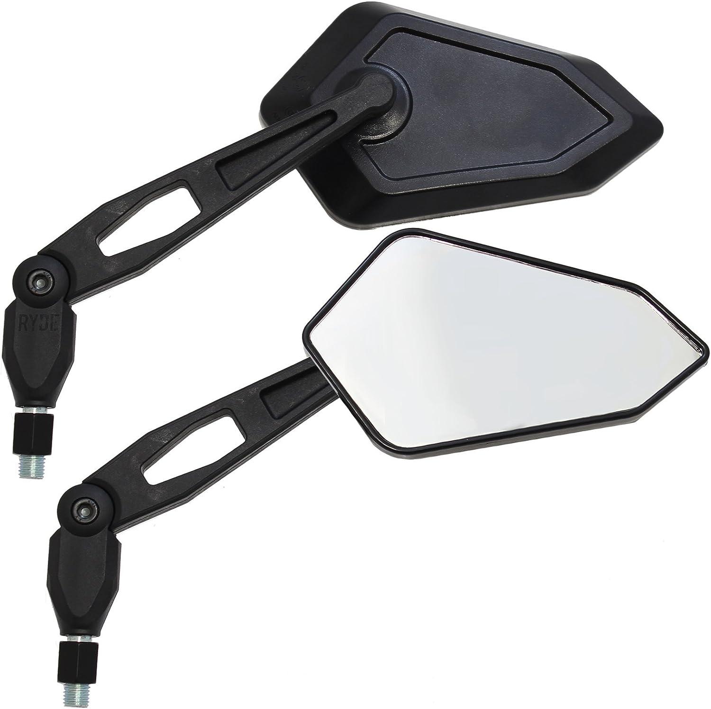 Ryde Nero Specchietti angolari a Norma EU Universale 10mm per motociclette