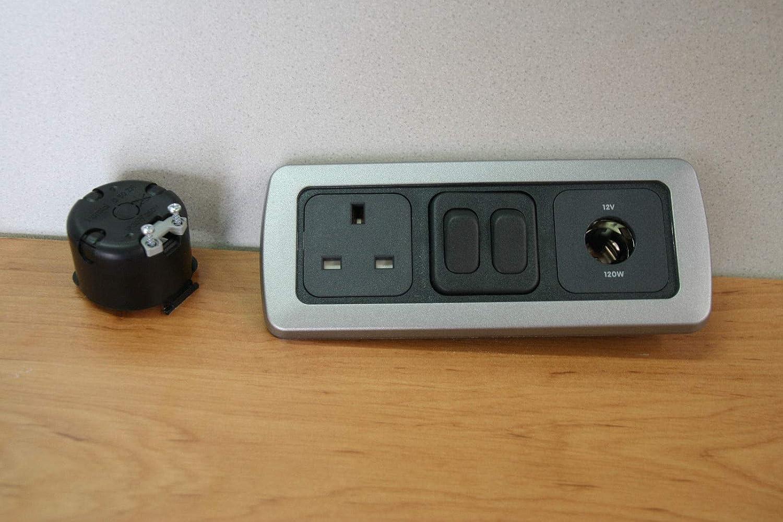 Flatline Silver Triple Surround Double Light Switch 12v Socket Socket Back 240v Socket Support Frame