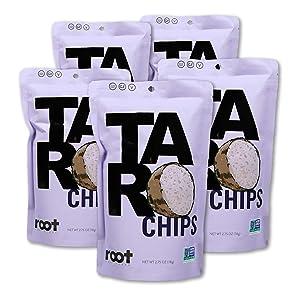 Root Foods Taro Chips Veggie Snack, Non-GMO Real Vegetable Sticks with Sea Salt, Good for Adults, Kids, Vegan, Gluten Free, Halal, Kosher, 2.75oz Bag, 5 Pack