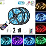 ELEAD Smart WiFi LED Strip Lights 10M/32FT 600 LEDs RGB 16 Million Colors Smart Phone APP Control Waterproof IP65 with 24key IR Remote Control Work with Android iOS