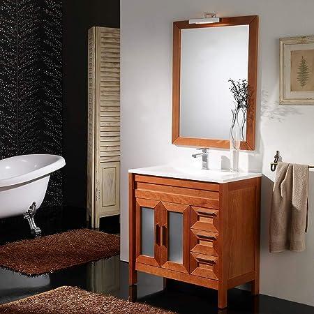 ARTEMA Mueble BAÑO con Lavabo Y Espejo con LUZ (80cm) Color Cerezo (2 Puertas y 3 cajones): Amazon.es: Hogar