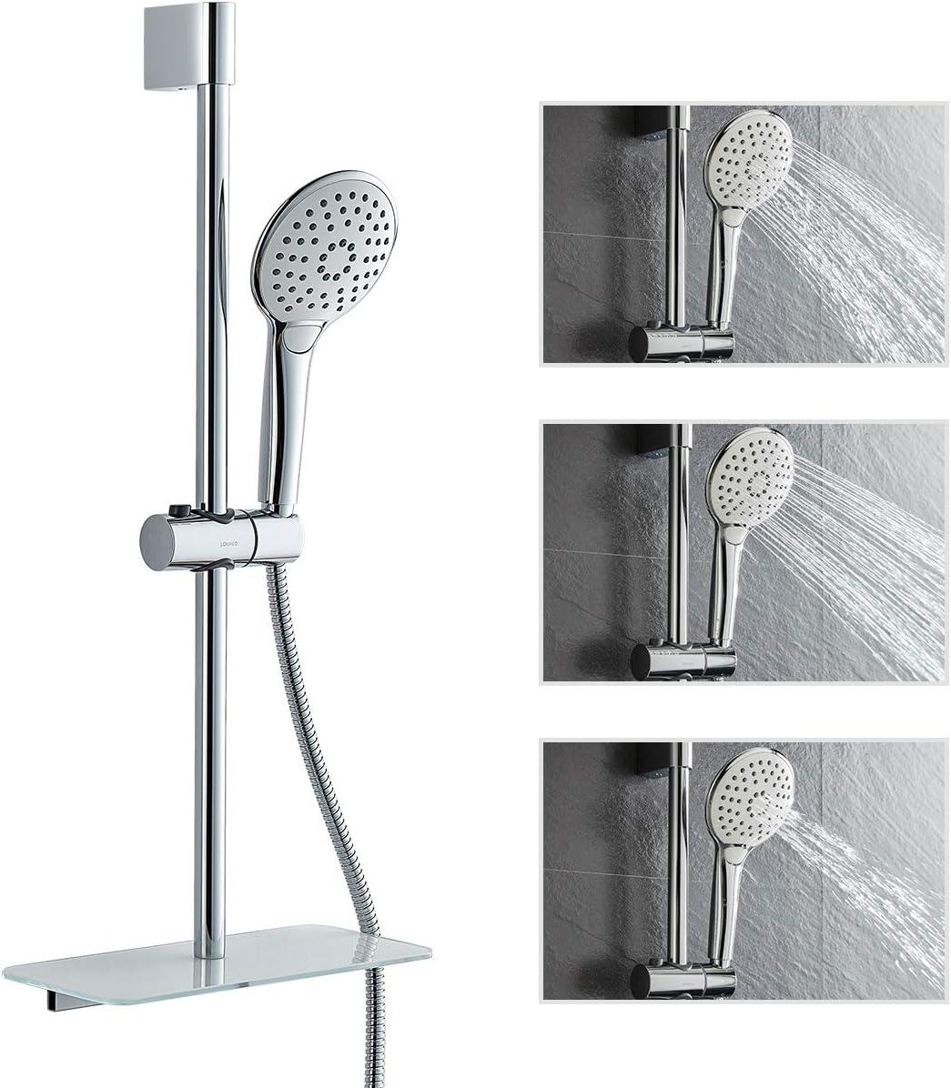Drenky superficie cromata lucida altezza totale 1 m Asta per doccia in acciaio inox 304 con staffe di montaggio regolabili in altezza e angolare