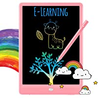TEKFUN LCD Writing Tablet Doodle Board, 10inch Colorful Drawing Tablet Writing Pad, Girls Gifts Toys for 3 4 5 6 7 Year Old Girls Boys (Pink)