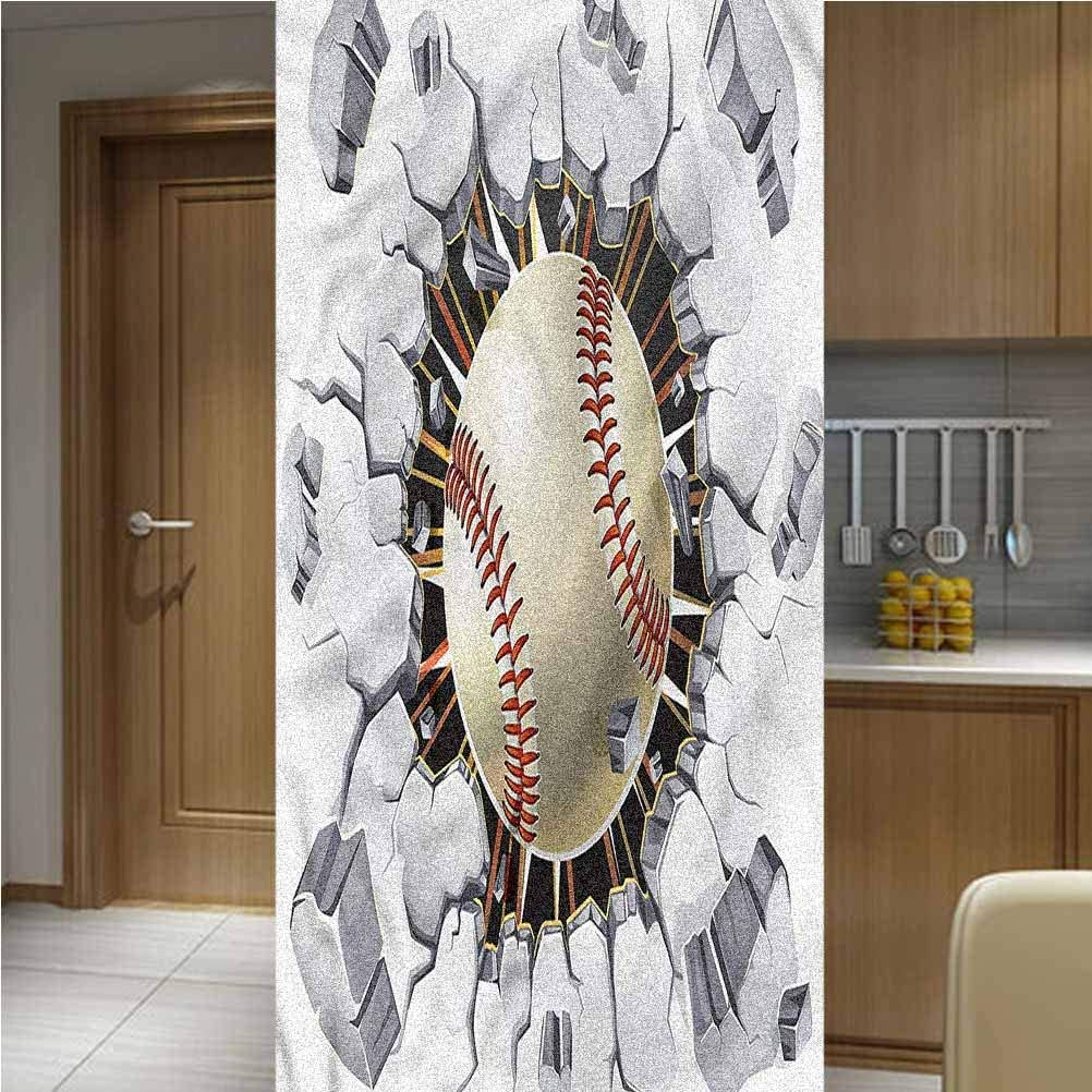 LCGGDB Sports ONE Piece 3D Printed Window Film Privacy Glass Film,Baseball Wall Concrete Non-Adhesive Window Stickers Paint Frosted Static Cling Glass Decal,47.2