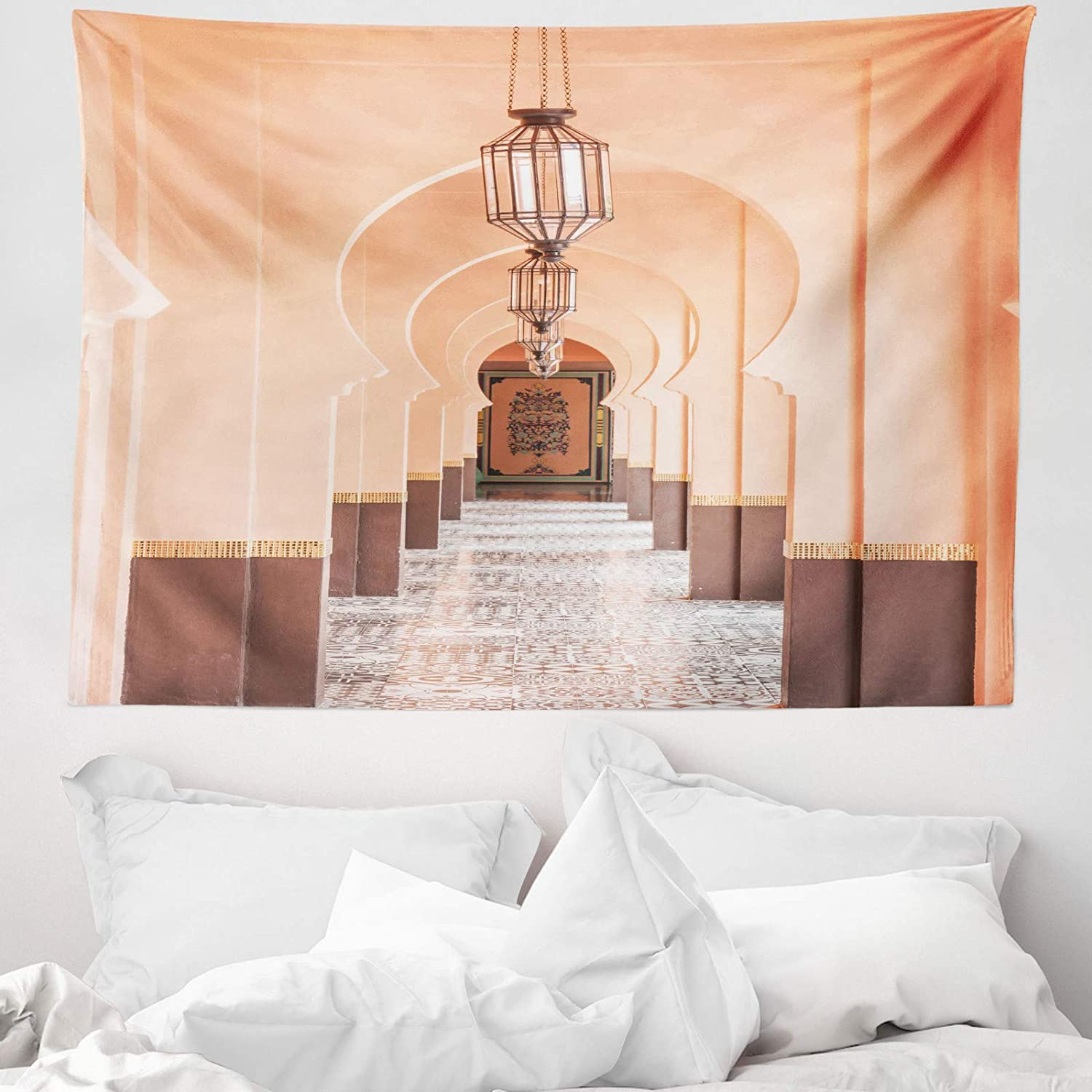 Abakuhaus Moroccan Tapestry Eastern Architecture Photo Fabric Wall Hanging Decor For Bedroom Living Room Dorm 58 W X 43 L Peach Pale Mauve Taupe Amazon Co Uk Kitchen Home