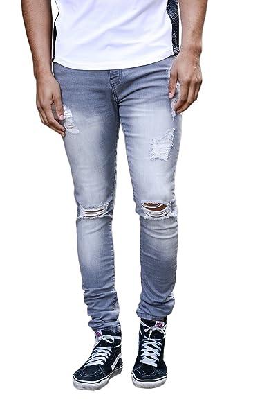 657b31b4d3a Enzo Mens Super Skinny Stretch Denim Jeans Designer Distress Rip Repair  Stylish Pants  Amazon.co.uk  Clothing