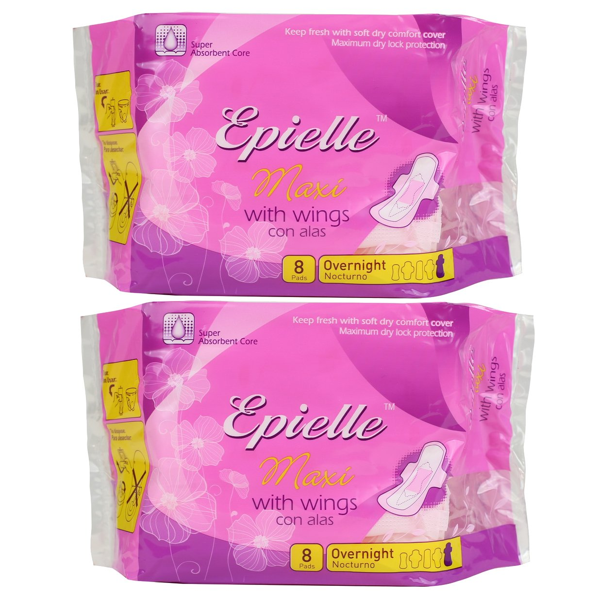Amazon.com: Epielle Maxi with Wings Feminine Care-Heavy-8ct (2 Pack): Health & Personal Care